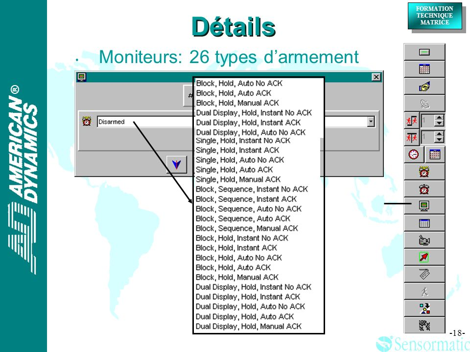 Détails Moniteurs: 26 types d'armement