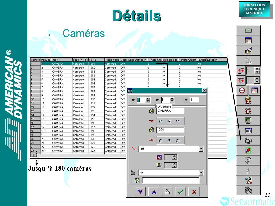 Détails Caméras Jusqu 'à 180 caméras
