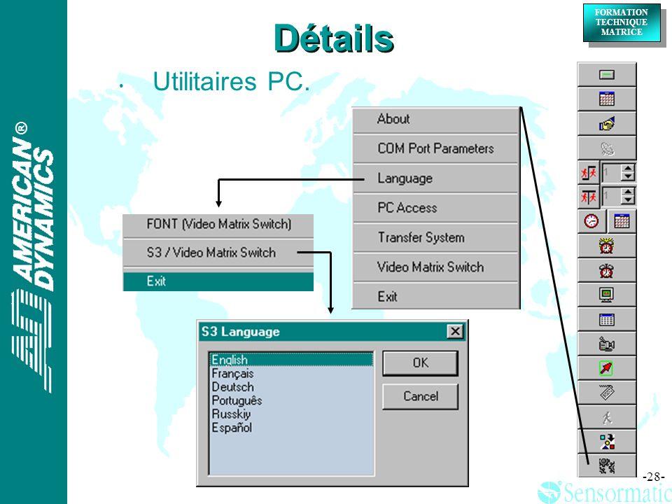 Détails Utilitaires PC.
