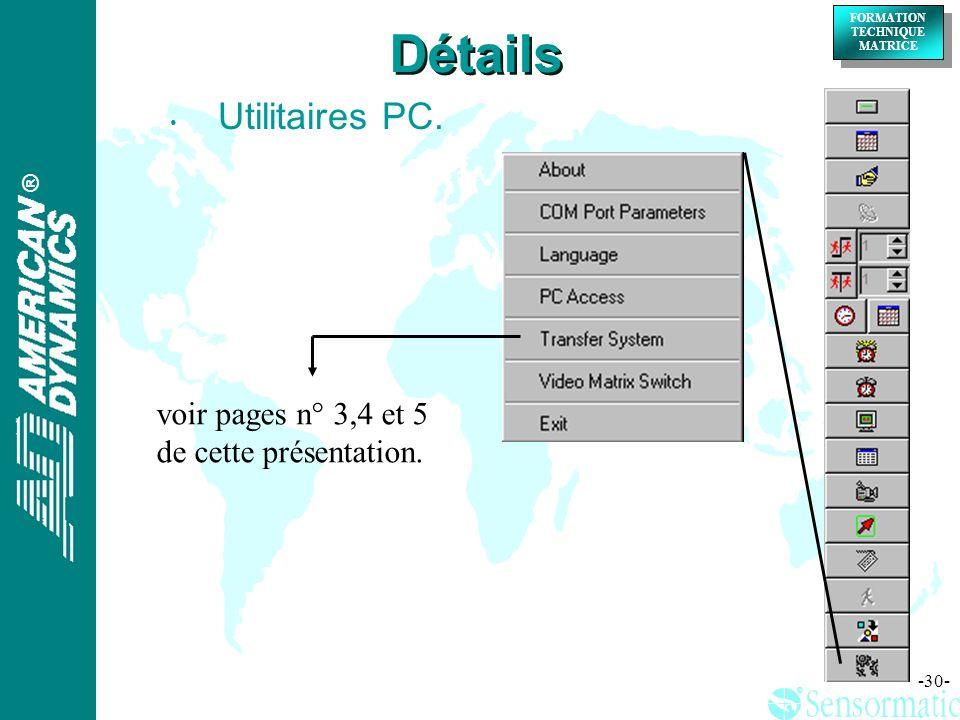 Détails Utilitaires PC. voir pages n° 3,4 et 5 de cette présentation.