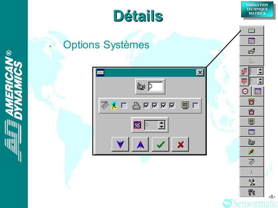 Détails Options Systèmes