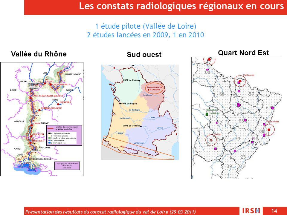 1 étude pilote (Vallée de Loire) 2 études lancées en 2009, 1 en 2010