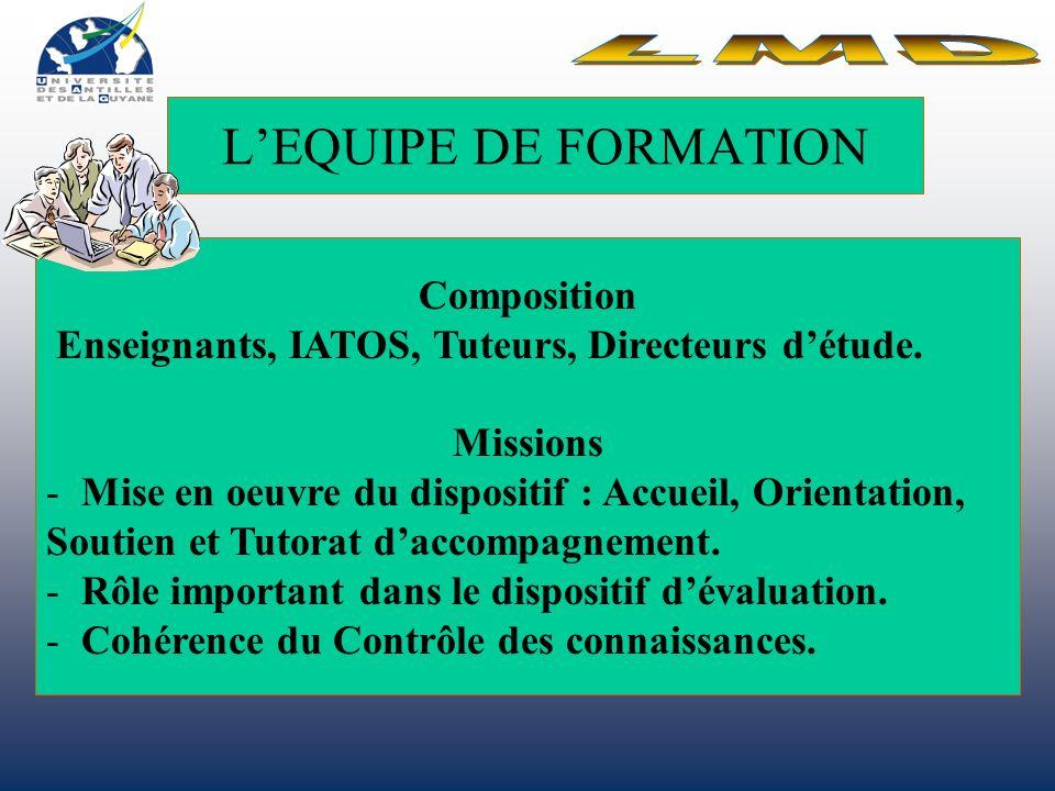LMD L'EQUIPE DE FORMATION Composition