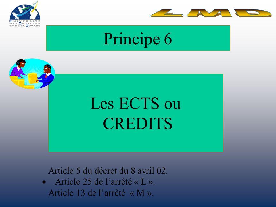 Principe 6 Les ECTS ou CREDITS LMD Article 5 du décret du 8 avril 02.