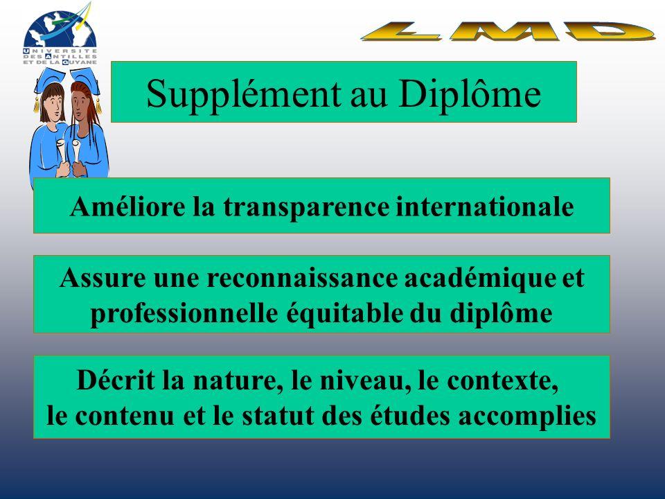 Supplément au Diplôme LMD Améliore la transparence internationale
