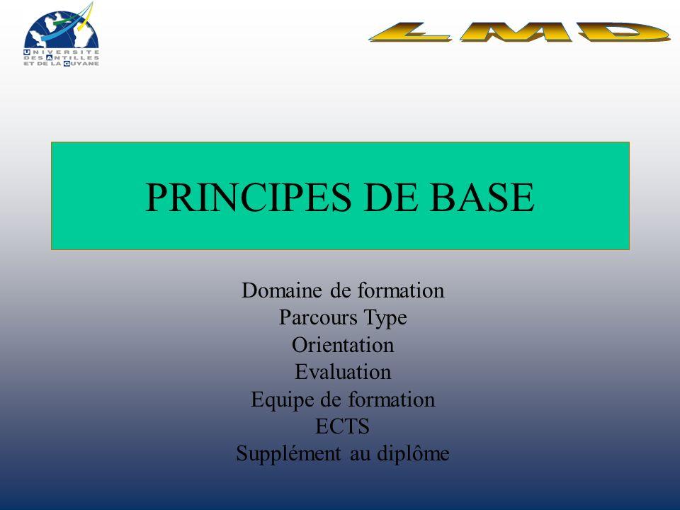 PRINCIPES DE BASE LMD Domaine de formation Parcours Type Orientation
