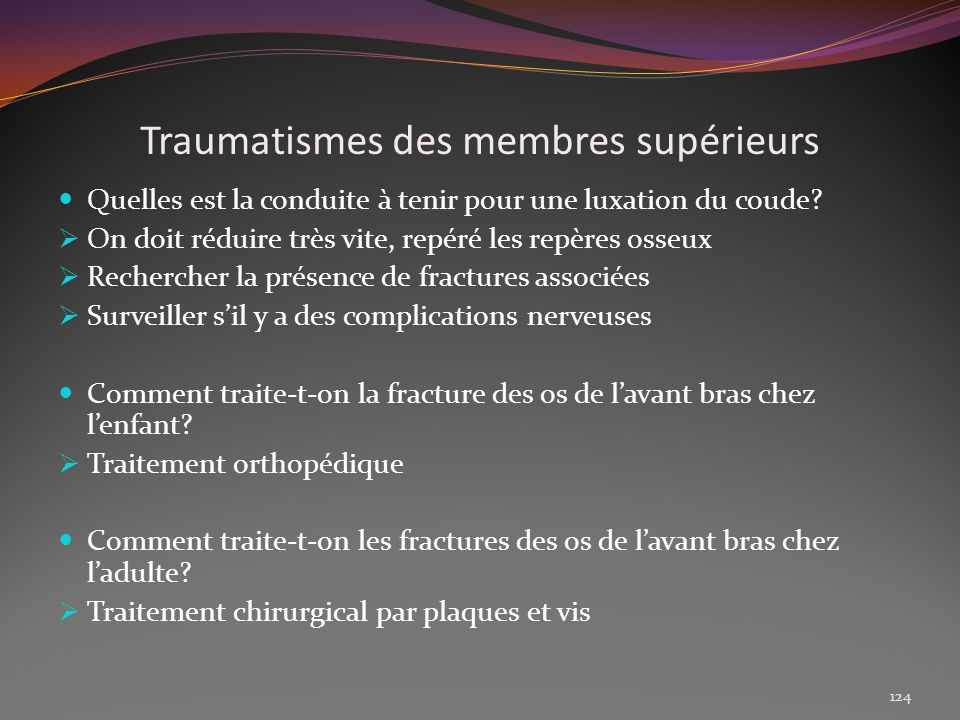 Traumatismes des membres supérieurs