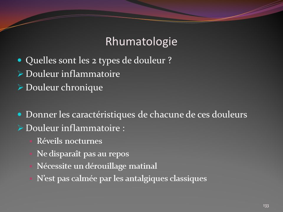 Rhumatologie Quelles sont les 2 types de douleur