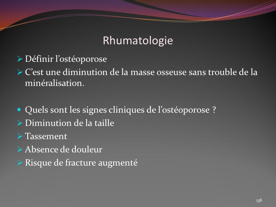 Rhumatologie Définir l'ostéoporose