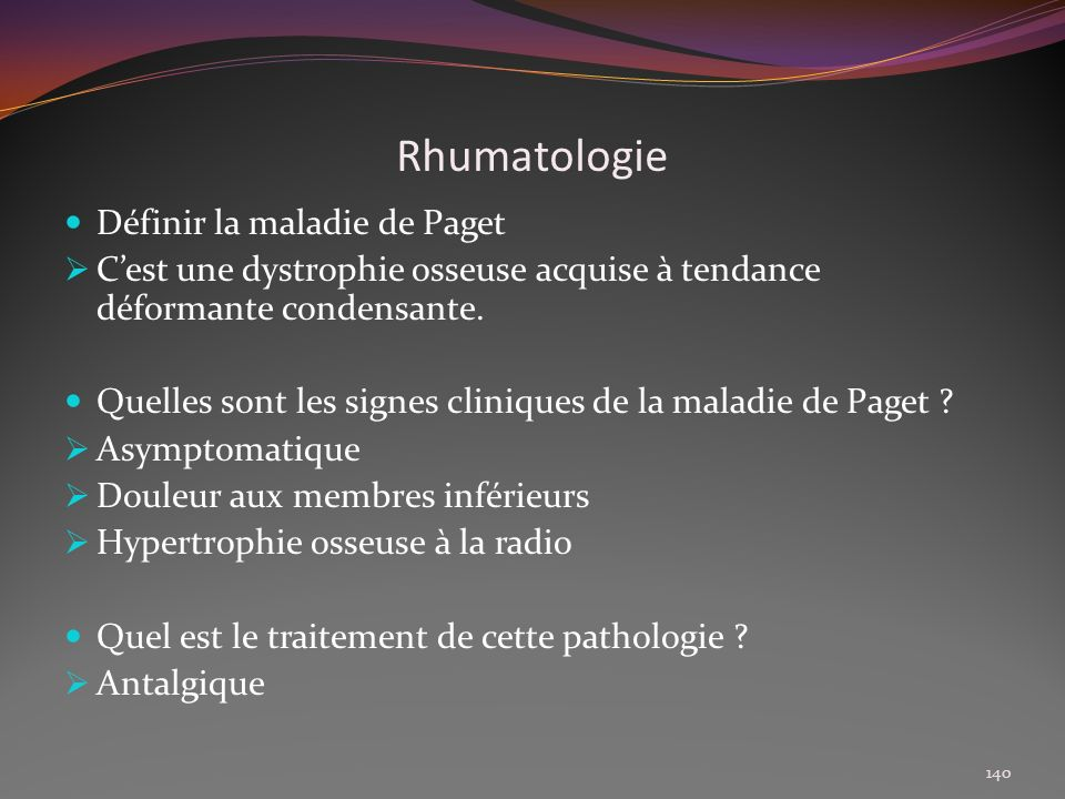 Rhumatologie Définir la maladie de Paget