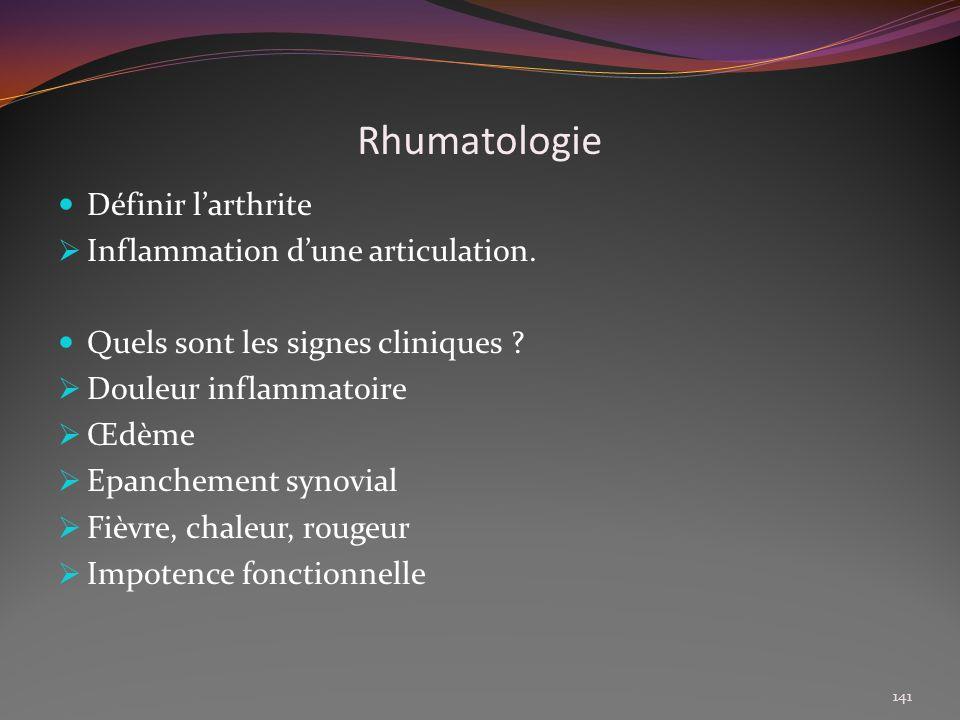 Rhumatologie Définir l'arthrite Inflammation d'une articulation.
