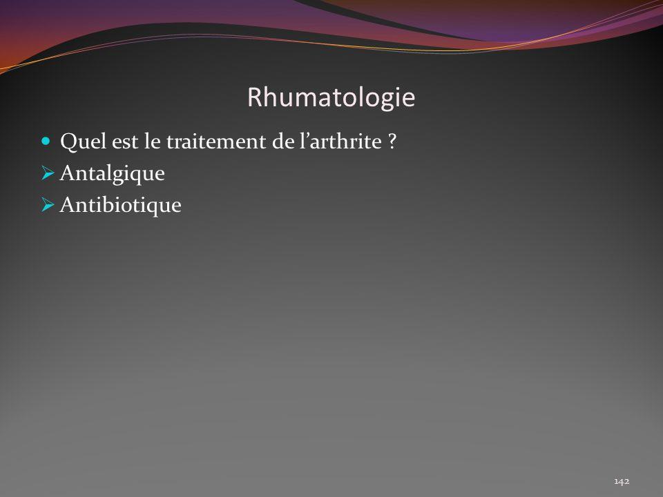 Rhumatologie Quel est le traitement de l'arthrite Antalgique