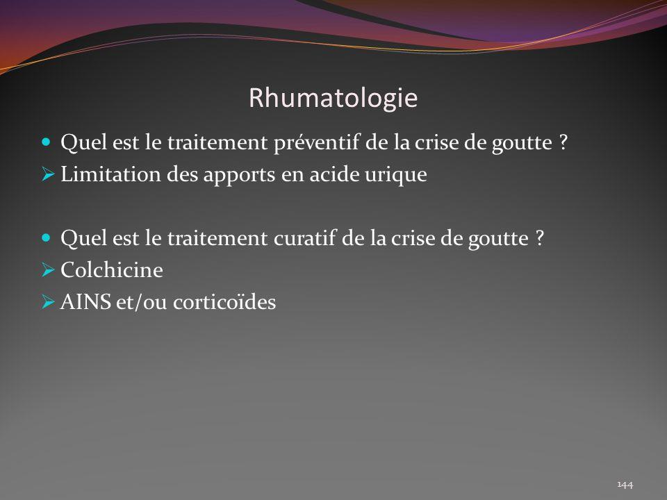 Rhumatologie Quel est le traitement préventif de la crise de goutte
