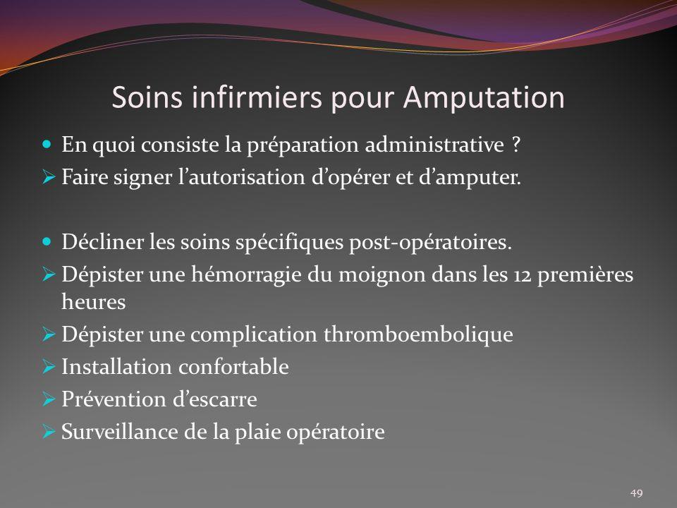 Soins infirmiers pour Amputation