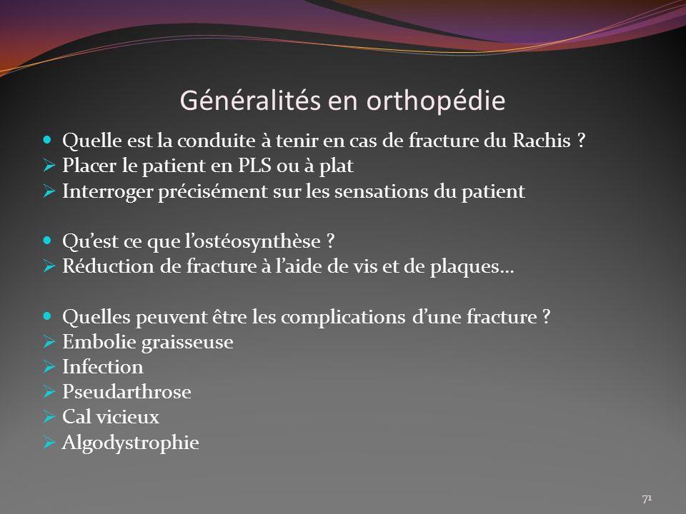 Généralités en orthopédie