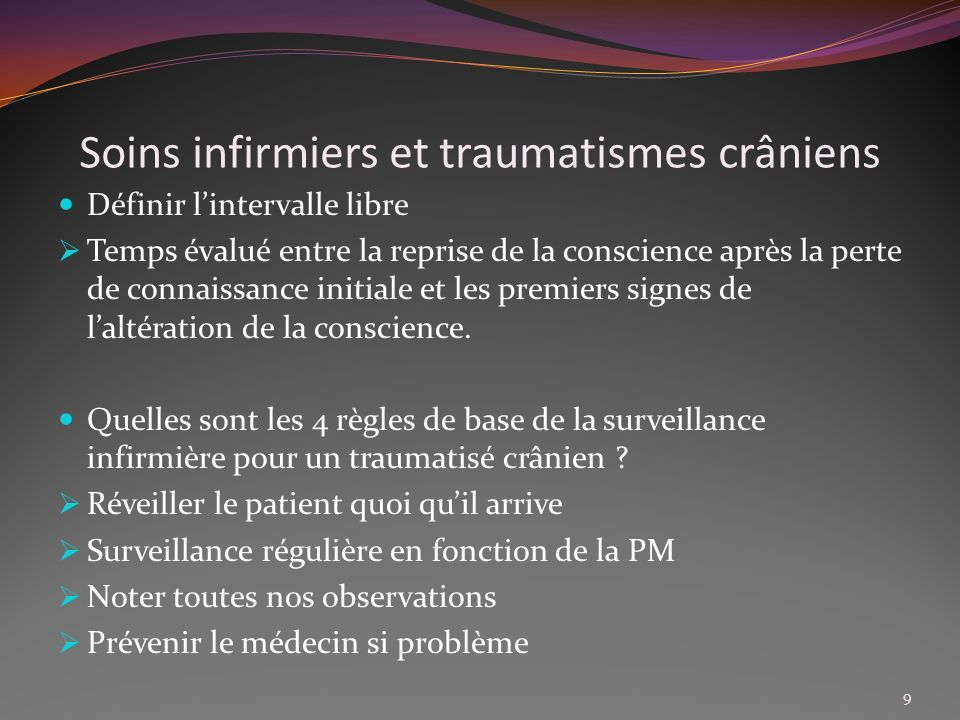 Soins infirmiers et traumatismes crâniens