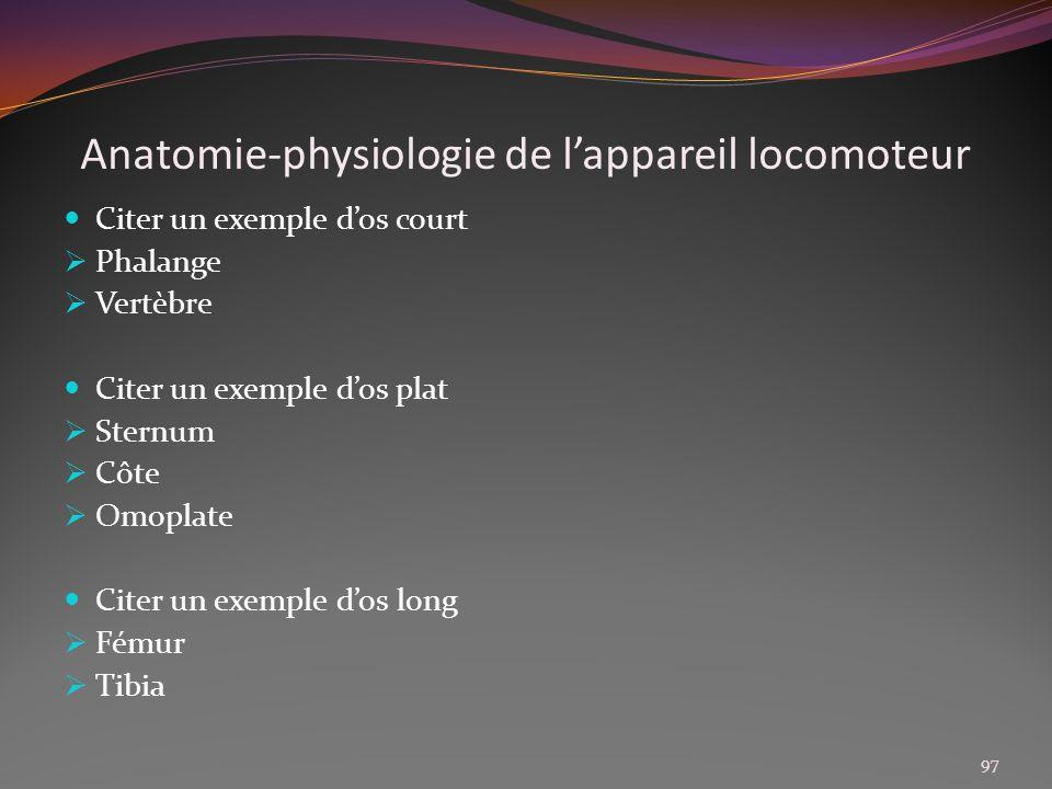Anatomie-physiologie de l'appareil locomoteur