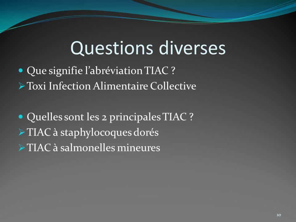 Questions diverses Que signifie l'abréviation TIAC