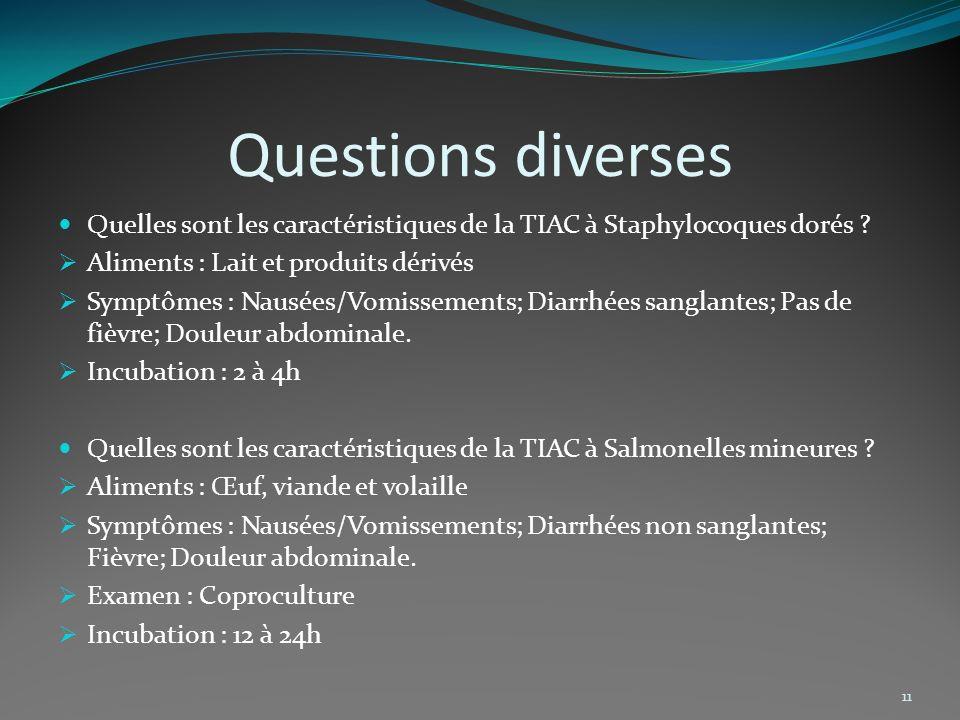 Questions diverses Quelles sont les caractéristiques de la TIAC à Staphylocoques dorés Aliments : Lait et produits dérivés.