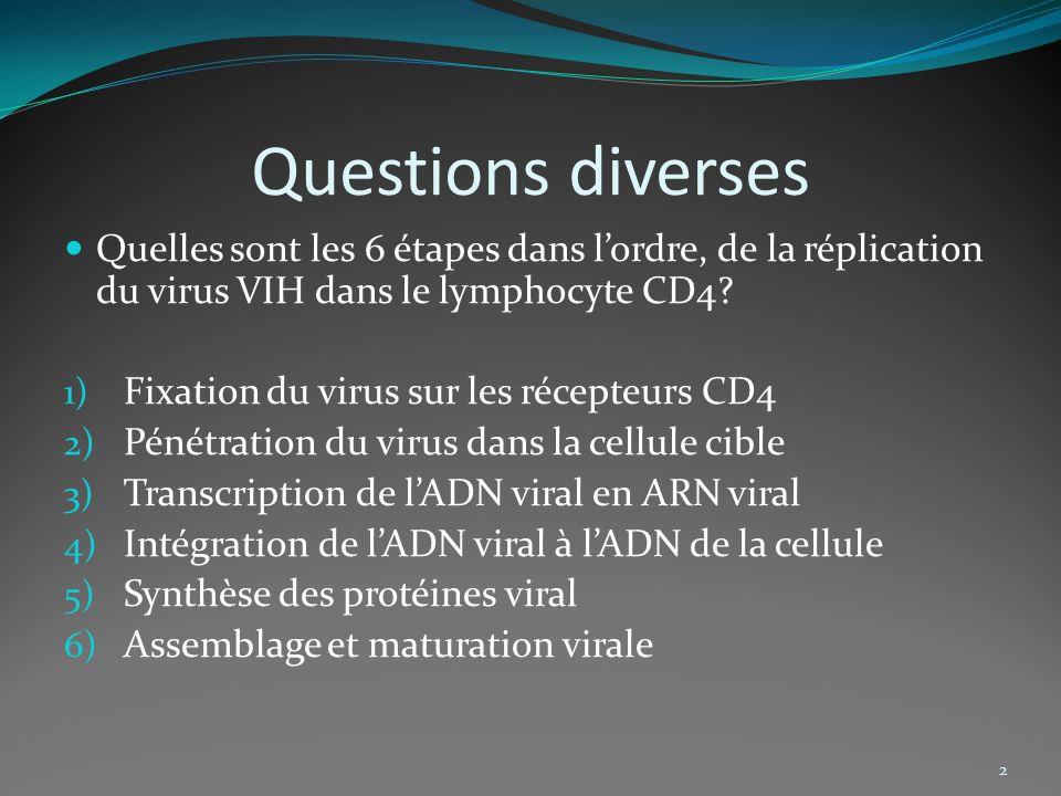 Questions diverses Quelles sont les 6 étapes dans l'ordre, de la réplication du virus VIH dans le lymphocyte CD4
