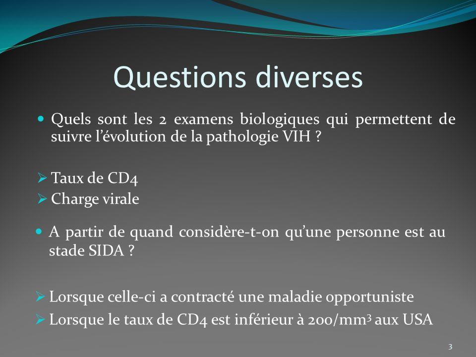Questions diverses Quels sont les 2 examens biologiques qui permettent de suivre l'évolution de la pathologie VIH