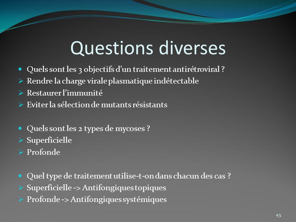 Questions diverses Quels sont les 3 objectifs d'un traitement antirétroviral Rendre la charge virale plasmatique indétectable.