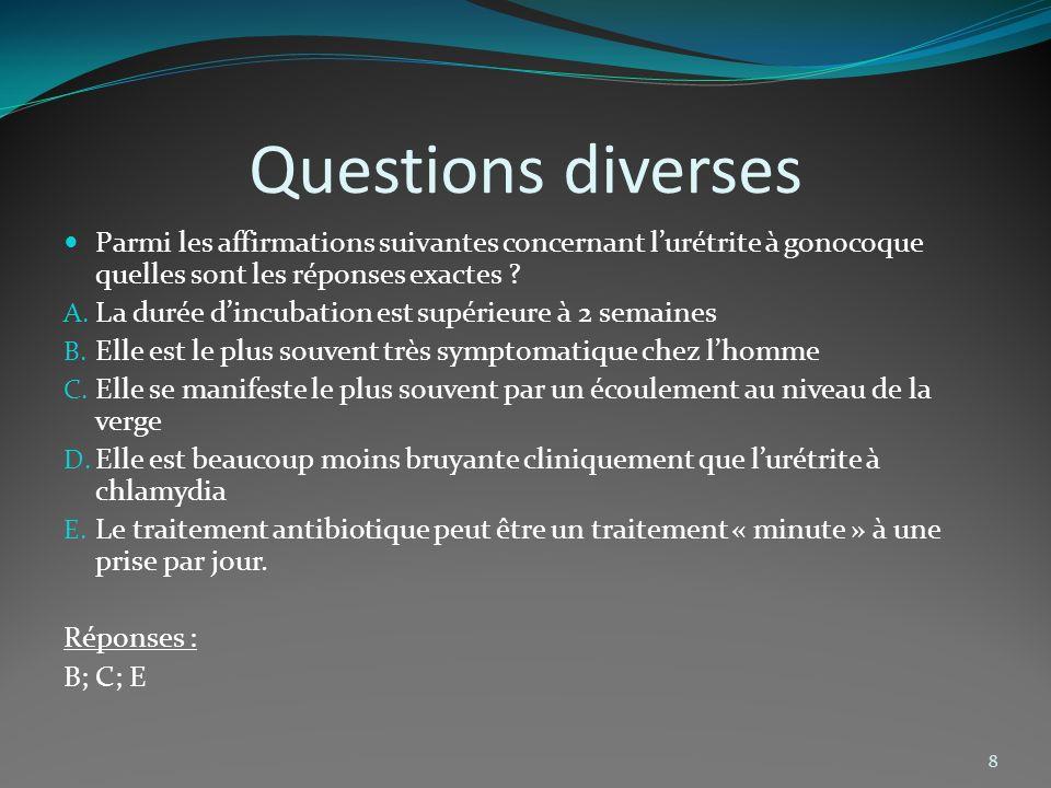 Questions diverses Parmi les affirmations suivantes concernant l'urétrite à gonocoque quelles sont les réponses exactes