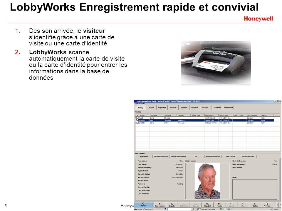 LobbyWorks Enregistrement rapide et convivial