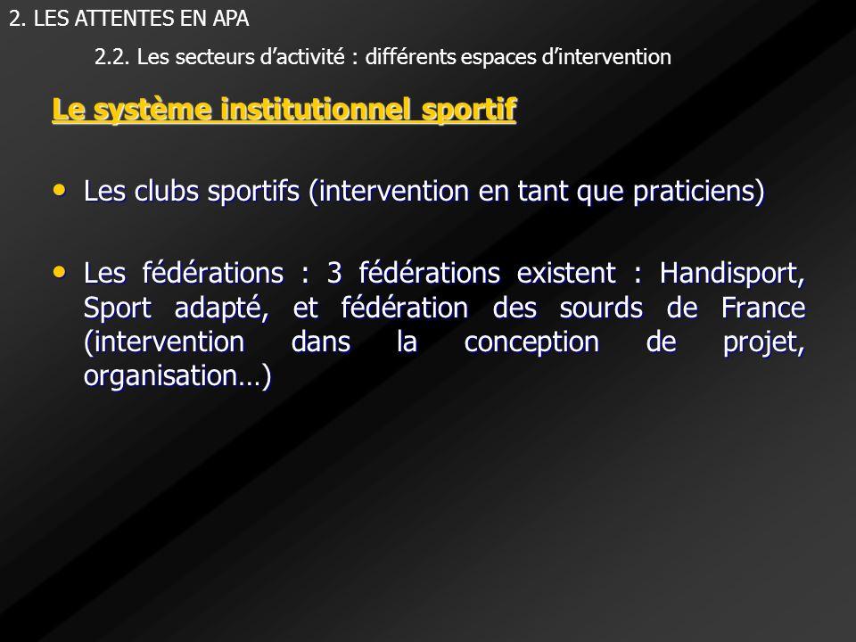 Le système institutionnel sportif