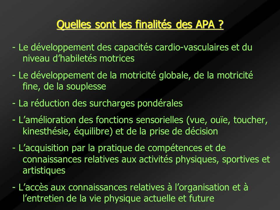 Quelles sont les finalités des APA