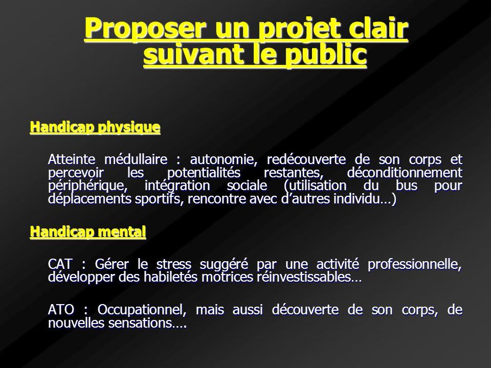 Proposer un projet clair suivant le public