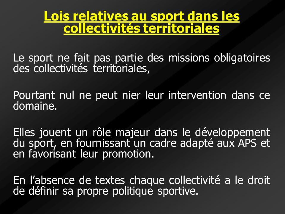 Lois relatives au sport dans les collectivités territoriales