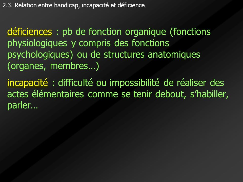 2.3. Relation entre handicap, incapacité et déficience
