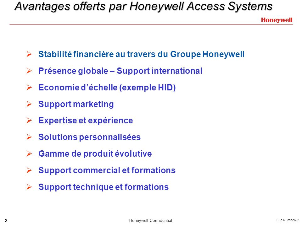 Avantages offerts par Honeywell Access Systems