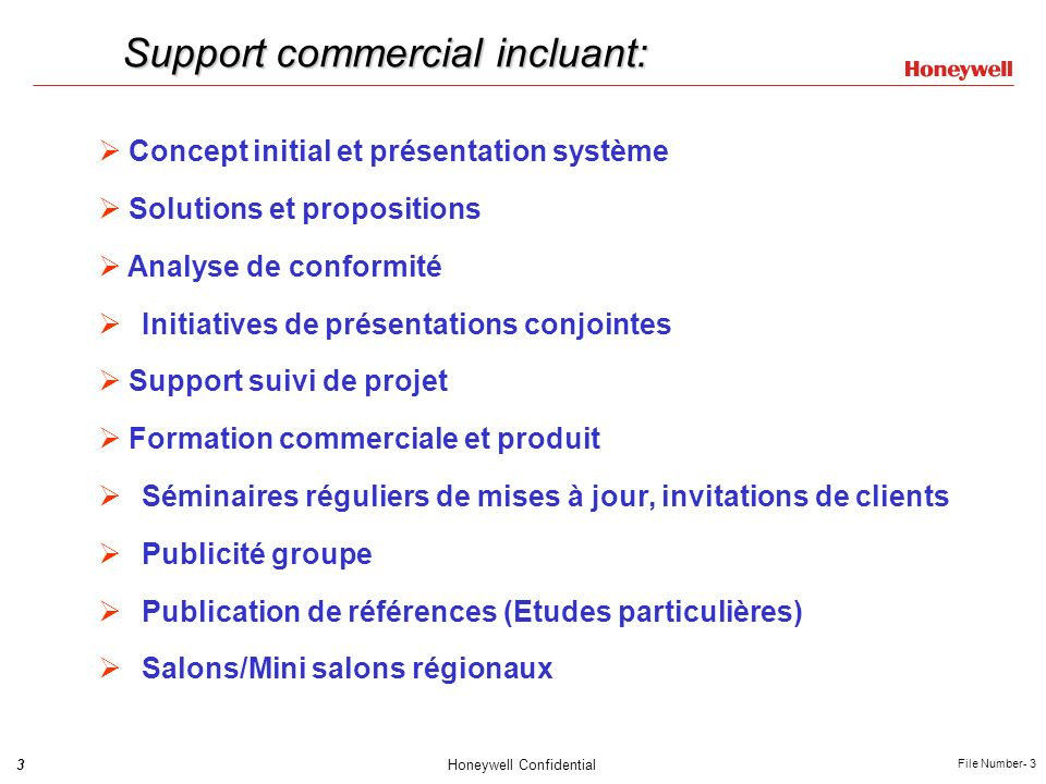 Support commercial incluant: