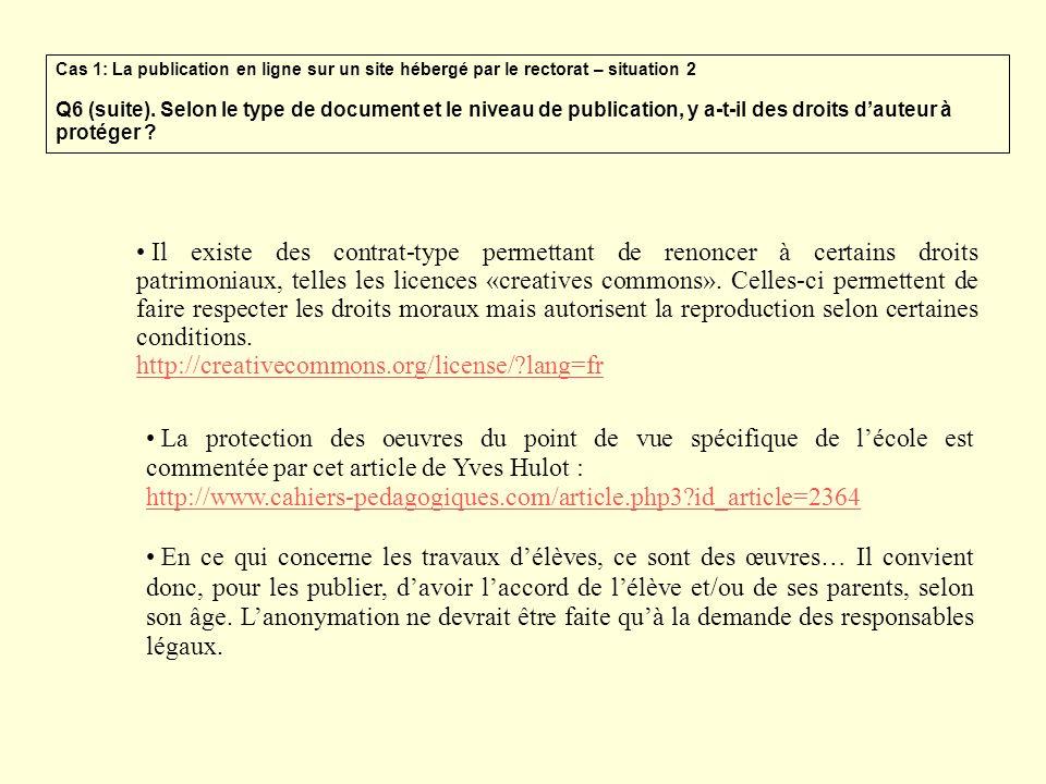 Cas 1: La publication en ligne sur un site hébergé par le rectorat – situation 2