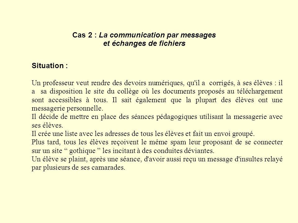 Cas 2 : La communication par messages et échanges de fichiers