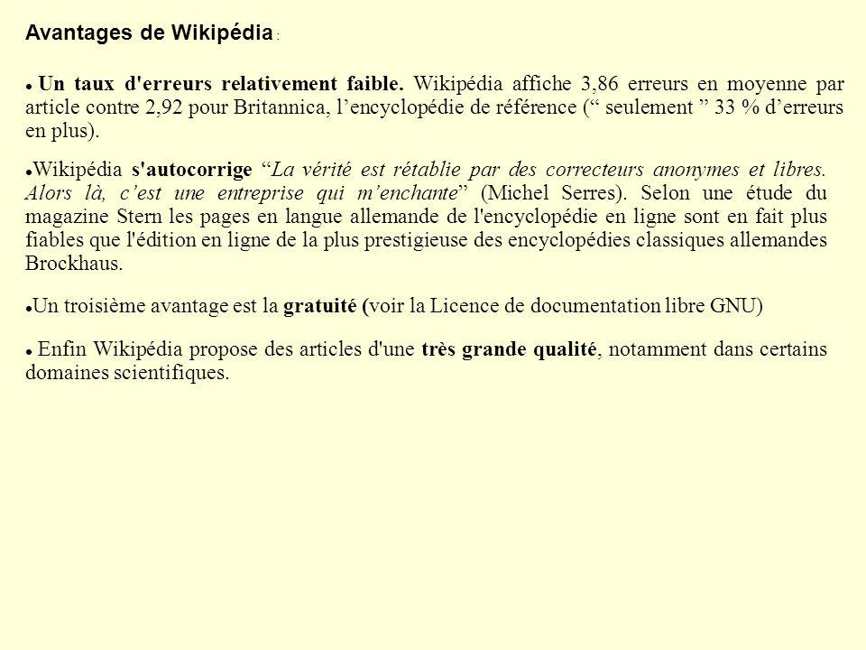 Avantages de Wikipédia :