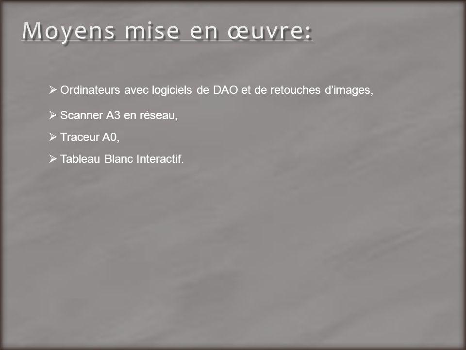 Moyens mise en œuvre: Ordinateurs avec logiciels de DAO et de retouches d'images, Scanner A3 en réseau,