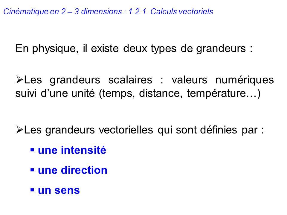 En physique, il existe deux types de grandeurs :