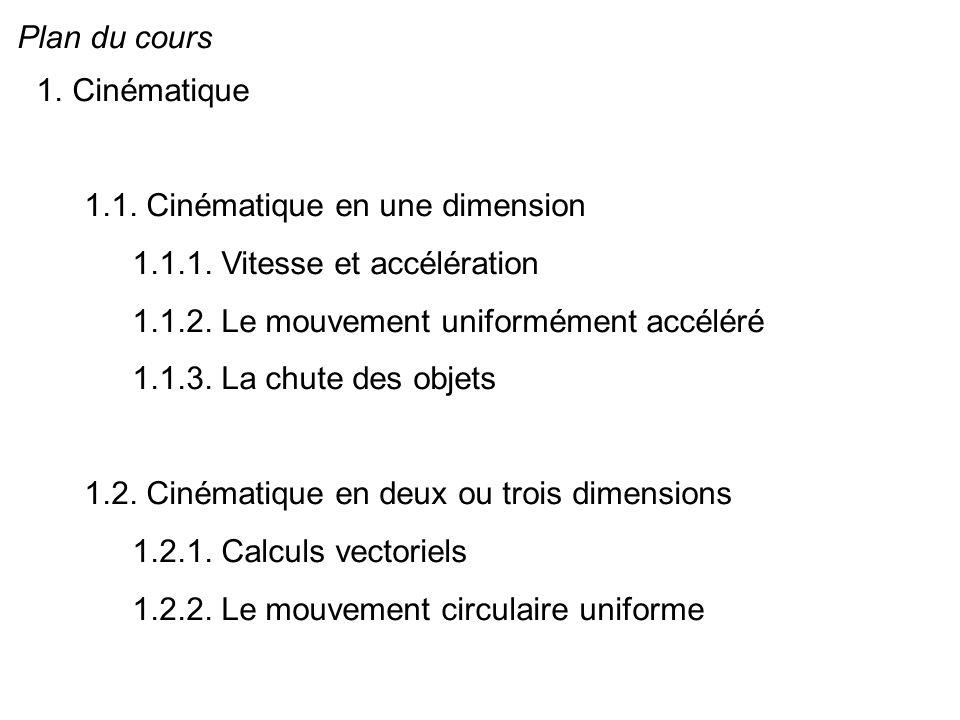 Plan du cours Cinématique. 1.1. Cinématique en une dimension. 1.1.1. Vitesse et accélération. 1.1.2. Le mouvement uniformément accéléré.