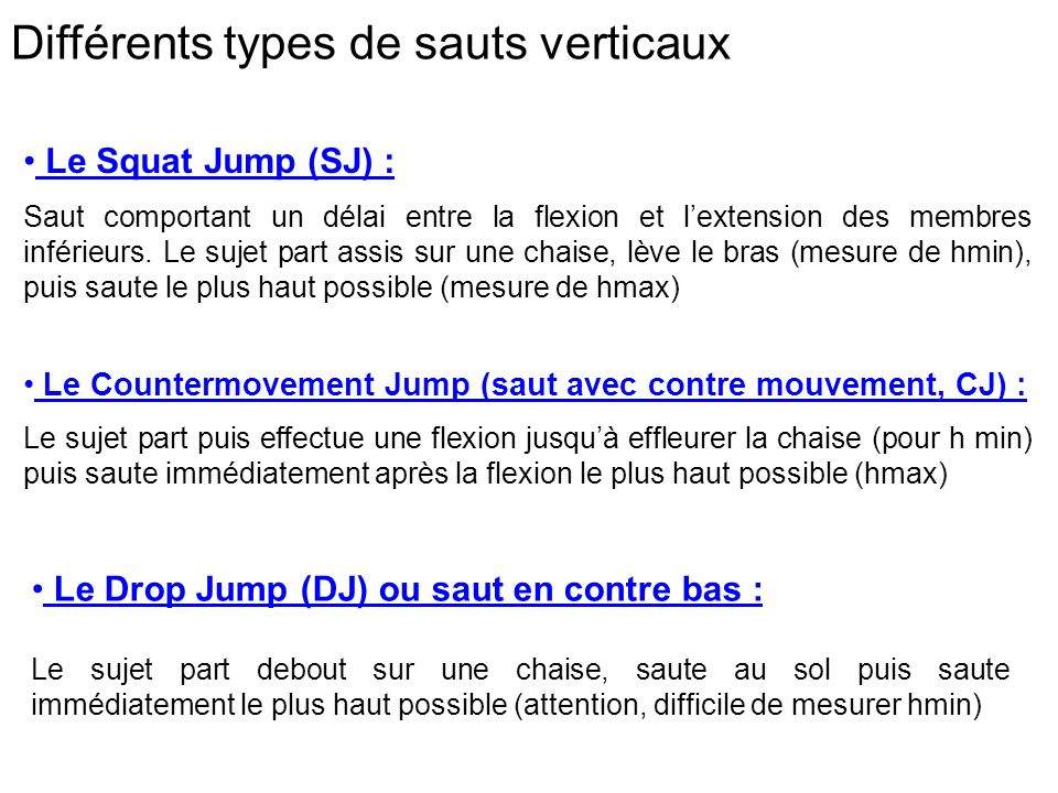Différents types de sauts verticaux