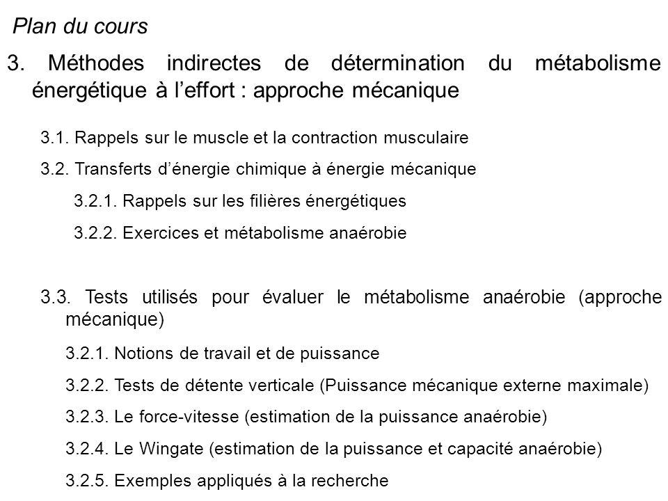 Plan du cours 3. Méthodes indirectes de détermination du métabolisme énergétique à l'effort : approche mécanique.