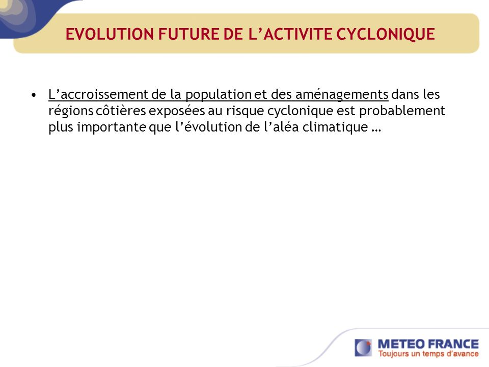 EVOLUTION FUTURE DE L'ACTIVITE CYCLONIQUE