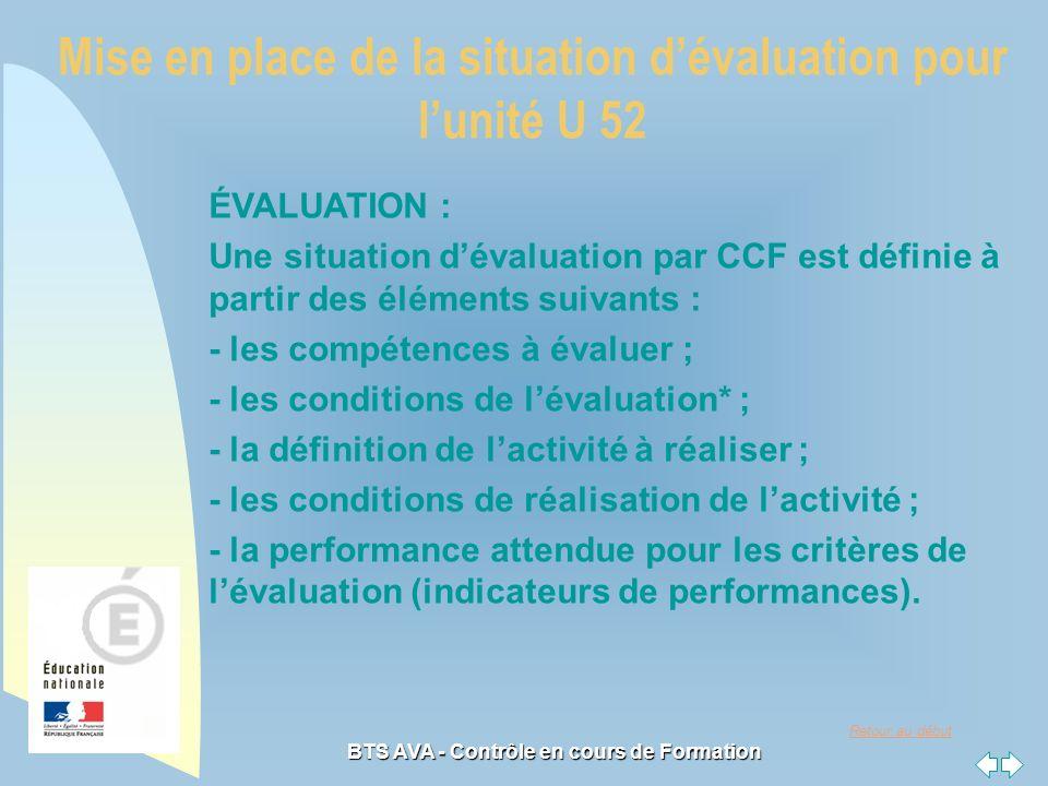 Mise en place de la situation d'évaluation pour l'unité U 52