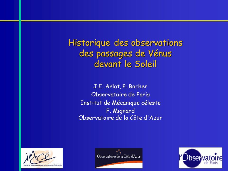 Historique des observations des passages de Vénus devant le Soleil