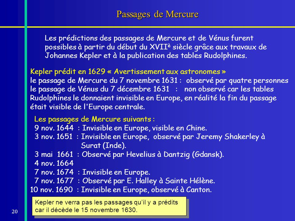 Passages de Mercure