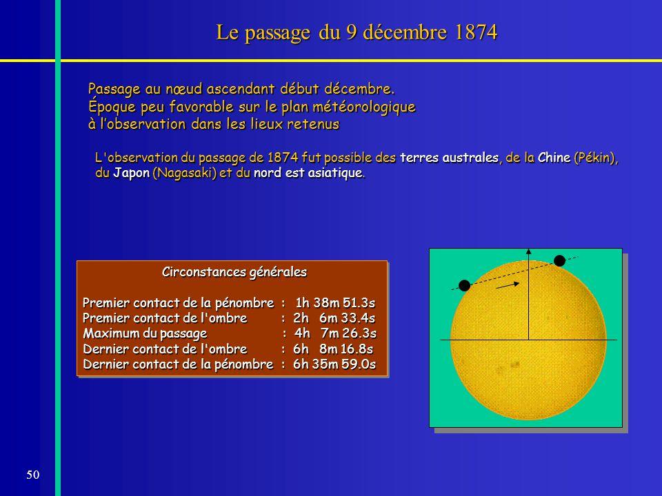 Le passage du 9 décembre 1874 Passage au nœud ascendant début décembre. Époque peu favorable sur le plan météorologique.