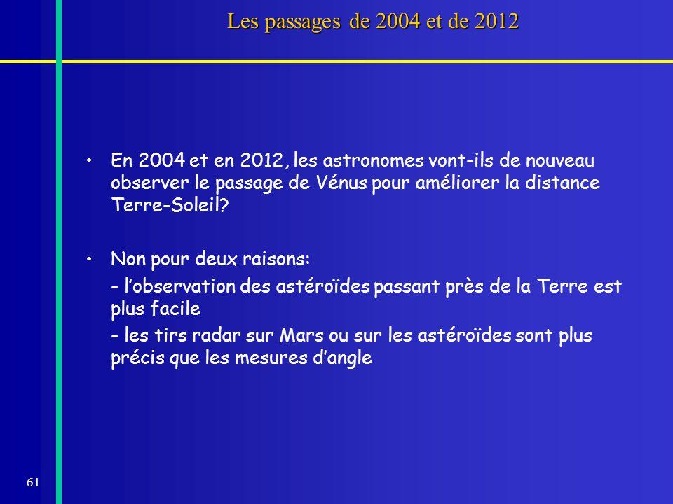 Les passages de 2004 et de 2012
