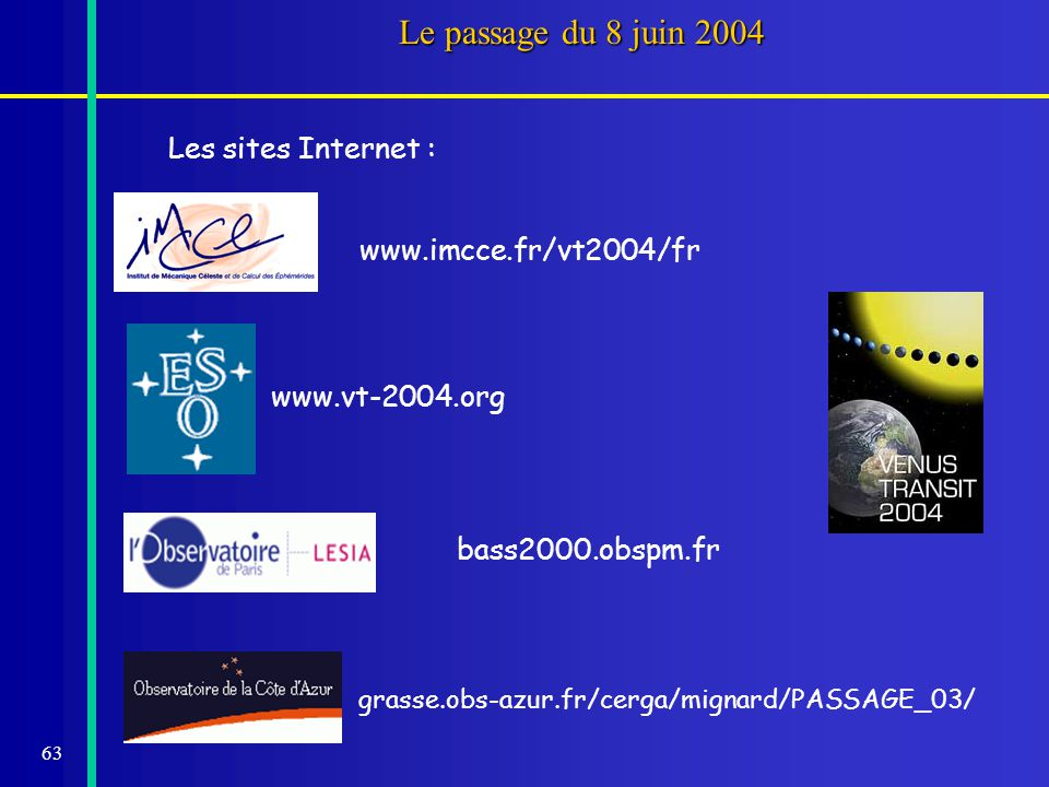 Le passage du 8 juin 2004 Les sites Internet : www.imcce.fr/vt2004/fr